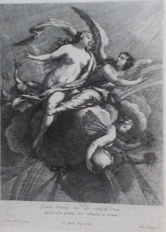Michel Dorigny, Junon et Iris ou L'Air, gravure d'après Simon Vouet, 1644