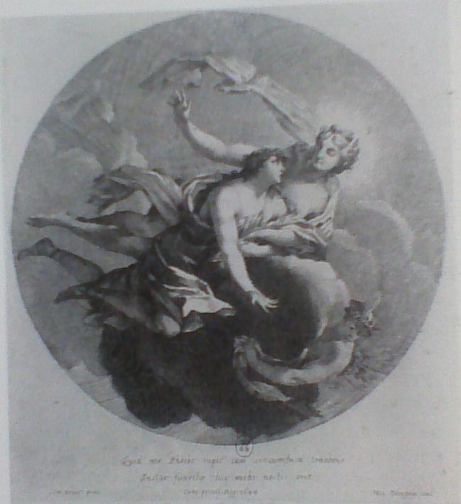 Dorigny, L'Aurore enlevant Titon, gravure d'après Simon Vouet, 1644
